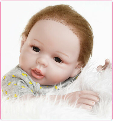 50CM Soft Vinyl Silicone Doll Reborn Baby Blue Brown Eyes Boy Toy Handmade Gifts