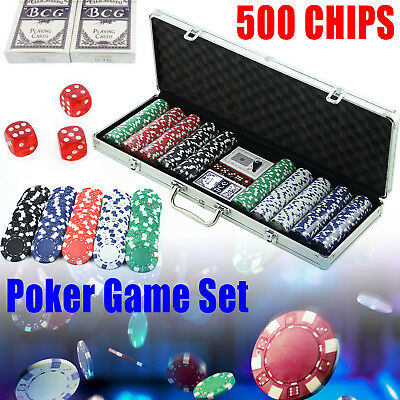500 Chips Poker Game Play Set Casino Size Chip Dice Cards Gamble Aluminium Case