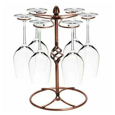 6 Cup Retro Wine Glass Rack Champagne Stemware Drying Hanging Stand Holder_Decor