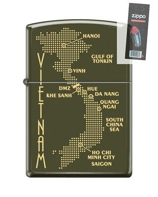 Zippo 0585 Map of Vietnam Green Matte Finish Full Size Lighter + FLINT PACK