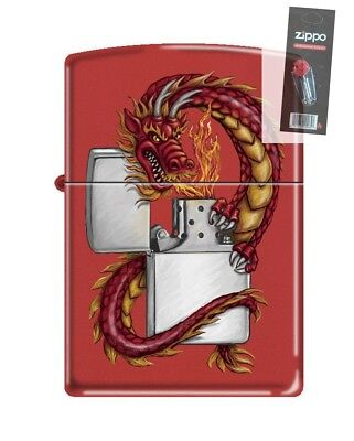 Zippo 3329 Oriental Dragon With Zippo Red Matte Finish Lighter + FLINT PACK