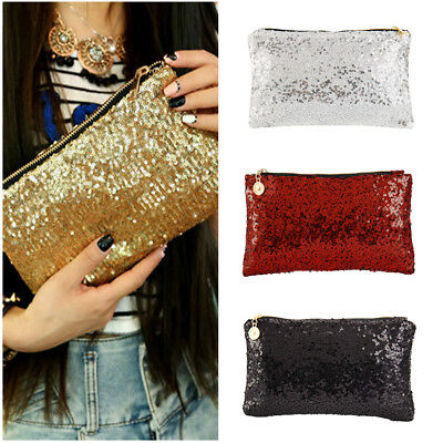 Womens Glitter Sparkling Sequins Handbag Ladies Evening Party Clutch Bag Purse 1