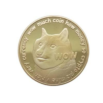 1X WOW Puppy Dog Dogecoin Commemorative Souvenir Coin Round Collection Gift Gold
