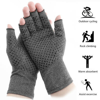 2PCS Anti Arthritis Gloves Half-Hand Support Pain Relief Fingers Compression New