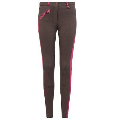 GS Equestrian Womens/Ladies Girls Kerry Two Tone Knitted Jodhpurs Grey/Pink