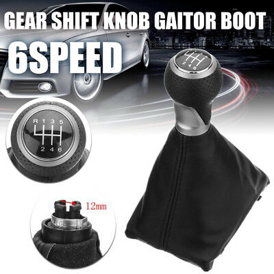 Black 6 Speed Gear Shift Knob Gaitor Boot PU Leather For Audi A4 S4 B8 8K SLine