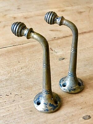 Antique Pair Coat Hooks Arts And Crafts Hardware Brass Vintage Reclaimed Old