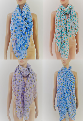 Ladies Bumble Bee Flower Print Neck Scarf Woman's Floral Summer Shawl Sarong