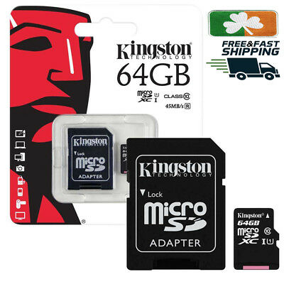64GB KINGSTON Micro SD SDHC SD Memory Card Class 10 45MB/s 64GB With Adapter