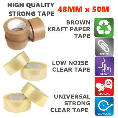 Strong Packaging Parcel Tape- Brown Kraft Paper / Clear / Low Noise Rolls 50M