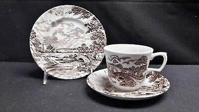 Ridgway Staffordshire Country Days Brown Trio Cup Saucer Bread & Butter Plate