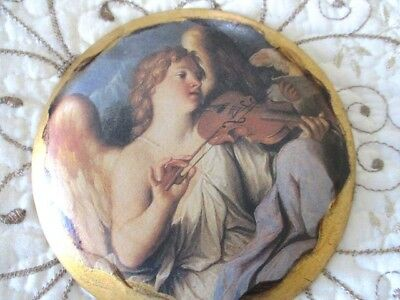 French Terra Cotta Italian Florentine Tole Style Angel Wall Picture Plaque