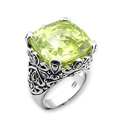 X314 APPLE GREEN CUSHION CUT SIMULATED DIAMOND RING STERLING SILVER STATEMENT