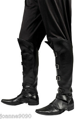 Mens Black Medieval Steampunk Pirate Fancy Dress Costume Shoe Boot Top Covers BN