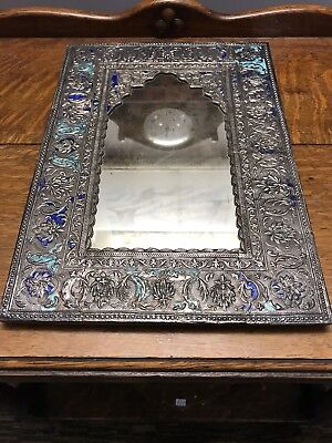 Antique Embossed Indian Silver And Enamel Mirror.