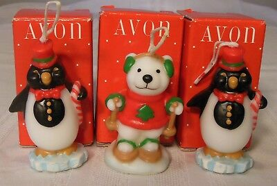Vintage Avon North Pole Pals Wax Candle Ornaments Set of 3 in Original Boxes