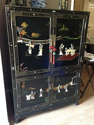 Oriental Black Lacquer Furniture Large Cabinet Tv Vintage
