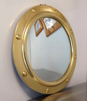 Mid-Century 1930/40's Art Deco Convex Mirror Brass Frame Porthole Fish Eye 12""