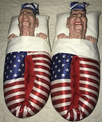 Vintage 1988 Spitting Image Ronald Reagan Bedroom Slippers EUC Flag Republican