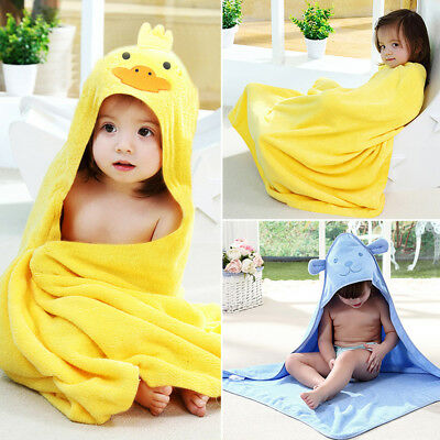 2Pcs Hooded Towel 100% Cotton Soft White Hooded Towels Baby Boys Girls Unisex