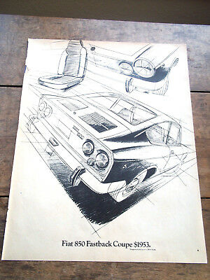 1969 FIAT 850 Fastback Coupe Line Drawing Vtg Print Ad