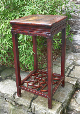 Antique Chinese Ming style tall stand original red wash cracked ice bottom shelf