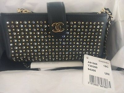 669f27827d2394 AUTHENTIC Rare Limited CHANEL STRASS CRYSTAL O Clutch Bag Wallet Phone Pouch  NEW