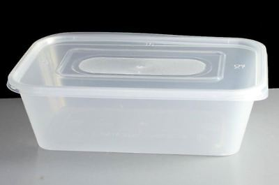 500 x Premium Quality Food Catering Plastic MICROWAVE CONTAINER & LID 750CC