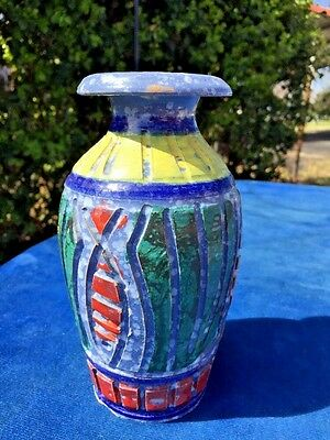 ANTIQUE Italy Italian Made Roman Catholic Vatican Fish Mosaic POTTERY VASE 7/5