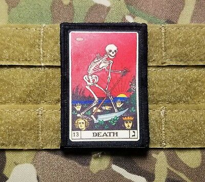 DEATH CARD Tarot Grim Reaper 2x3 Tactical Hook Military Morale Patch Skull