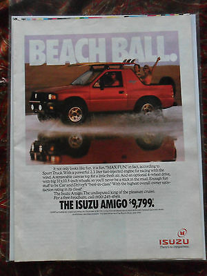 1991 Print Ad ISUZU Amigo Pick Up Truck Car Vehicle ~ Beach Ball