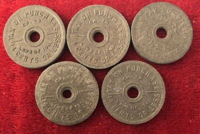 Tax Comission Token 1941 Fiber Token Lot Of 5