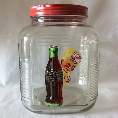 Coca-Cola Glass Canister / Jar / Cookie Jar, Metal Lid Anchor Hocking