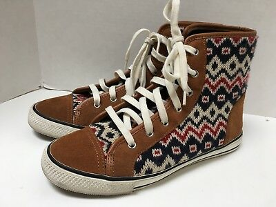 Tory Burch Brown Knit & Suede Indian Design High Tops Lace Up Size 10M