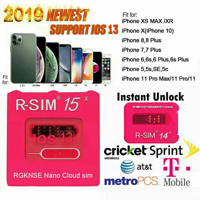 RSIM 12+ 2018 R-SIM Nano Unlock Card for iPhone X/8/7/6/6s/5S/ 4G iOS 12 11 Lot