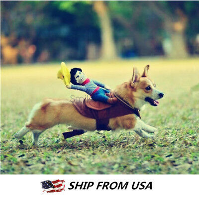Funny Riding Horse Cowboy Pet Dog Costumes Puppy Halloween Party Costume Clothes