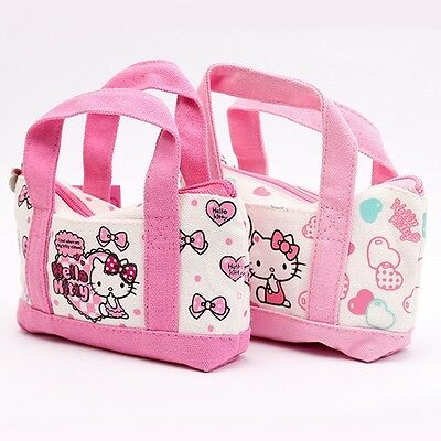 c056db7a7f85 1pcs Sanrio Hello Kitty Character Canvas Pouch Cosmetic Makeup Bag Children