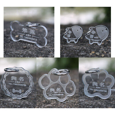 Acrylic Material Pet Dog Cat ID Tag engraving with your pet's name and number