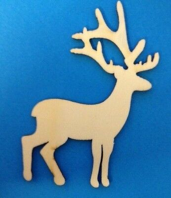 CLEARANCE 4 Natural Wooden Large Reindeer Christmas Card Making Embellishments