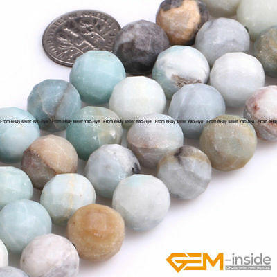 """Natural Multi-Color Amazonite Gemstone Frost Matte Faceted Round Beads 15""""String"""