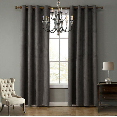 Blackout Curtain 1PCS Eyelet suede Fabric curtain Blockout Room Darkening 7color