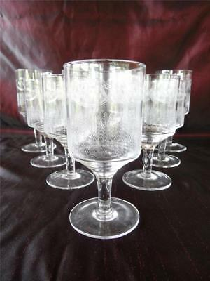 Vintage Part Set Of 10 Etched Stemware Glass Glasses 5 Wine, 5 Sherry