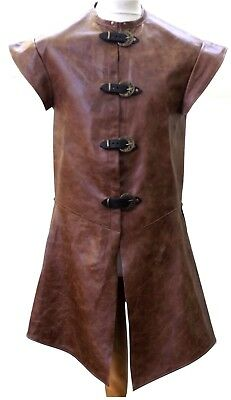 Italian Leather Long Medieval Jerkin Vest Tunic LARP MADE TO ORDER Choose Colour