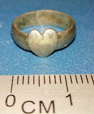 Old Silver Small Ring Heart of the 18-19th century