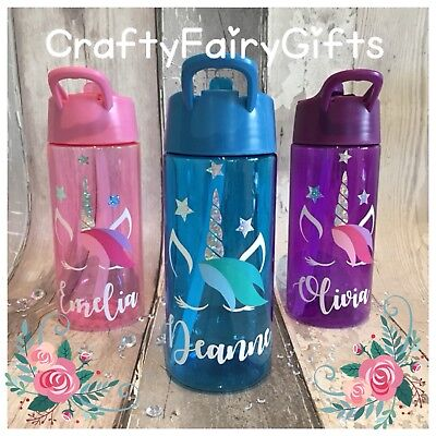 Personalised Kids Water Drink Bottle Straw 400ml Posh Unicorn All Colours In