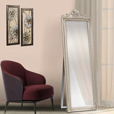 Free Floor Standing Long Cheval Mirror Full Length Bedroom Silver French Style