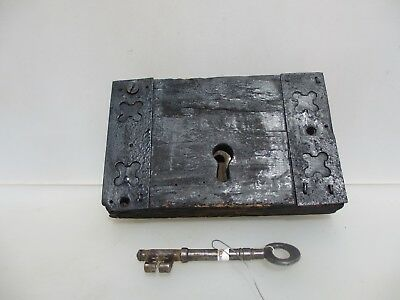 Antique Oak lock Iron Key Victorian Church Architectural Wood Old Georgian