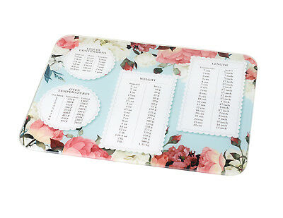 Weights + Measures Large Floral Glass Chopping Board 40x50cm Work Top Saver Home