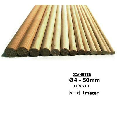 Oak Wood Dowels Smooth Rod Pegs - 1m length, 4 - 50mm diameter