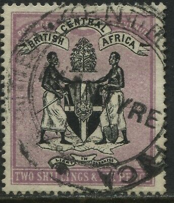 British Central Africa 1895 2/6d violet & black revenue used